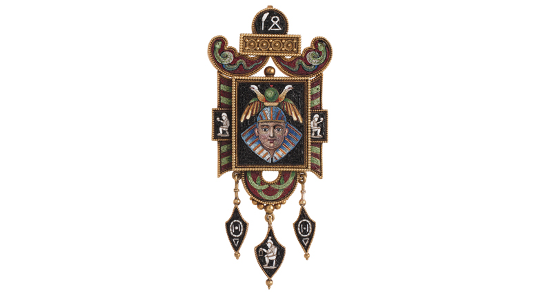 Micromosaic brooch/hair locket. ca. 1880-90.