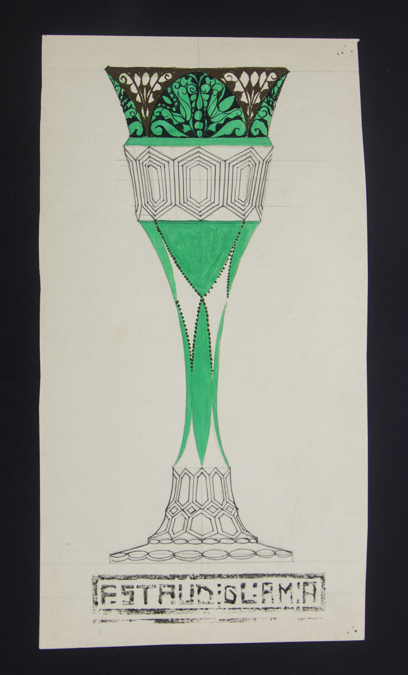 Design drawing for a vase. Made in Vienna around 1900.