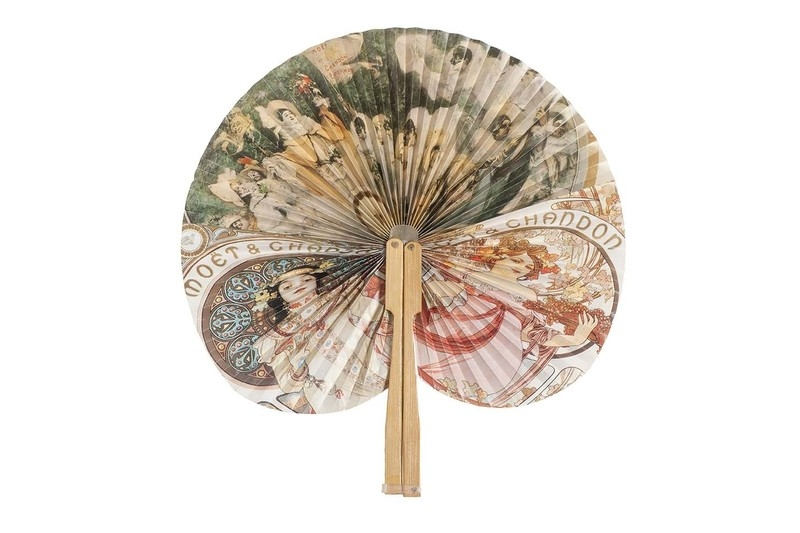 Fan made  in 1994 in England for the 250th anniversary of Moet et Chandon utilizing artwork by Alphonse Mucha. Late 20th c.