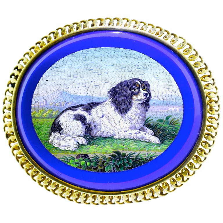 Micromosaic brooch with a dog motif. ca. 1860.
