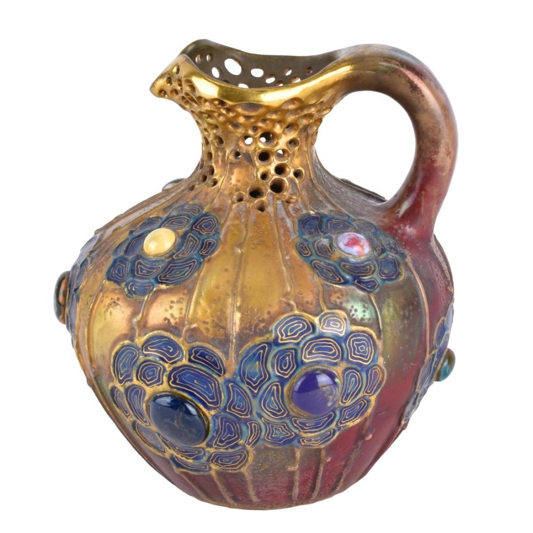 Gres Bijou pottery ewer. Numbered 3855/45 to base.