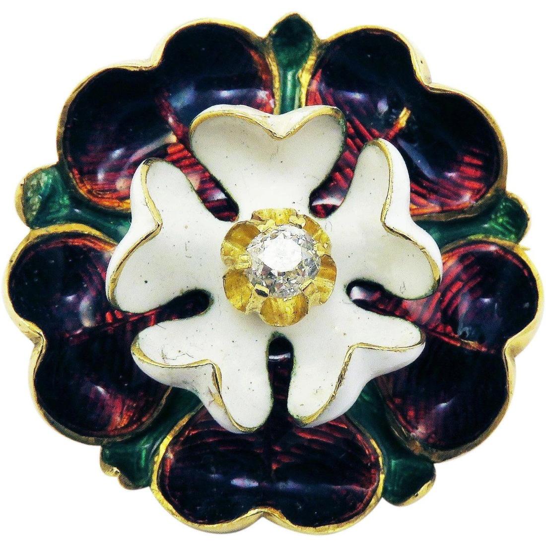 Tudor rose brooch/pendant. ca. 1875.