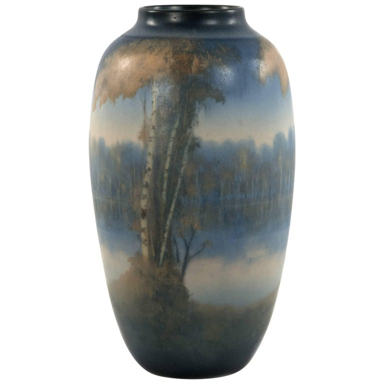 Vellum glazed river scene vase. mid 20th c.
