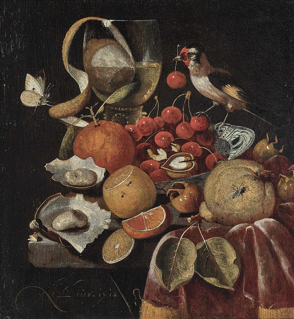 Still life with fruit and a goldfinch. 1712.
