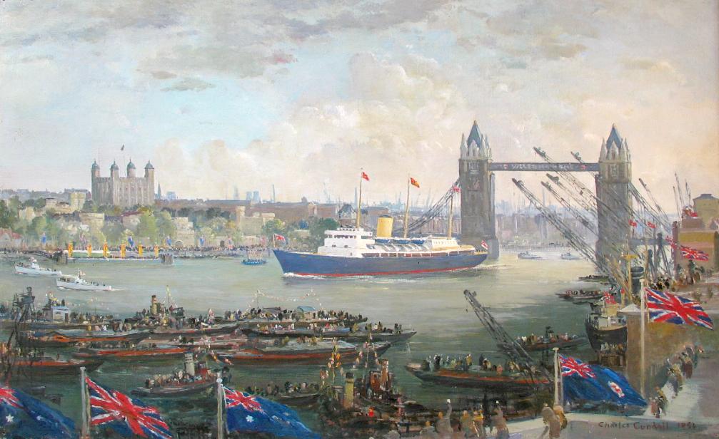"""""""HMY Britannia passing under Tower Bridge."""""""