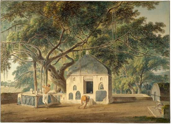 """The Sacred Tree of the Hindoos at Gyah, Bahar, March 1790."" No date."