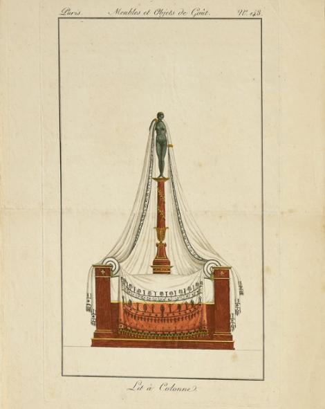 """""""Lit à Colonne,"""" from """"Meubles et Objets de goût."""" Number 148."""