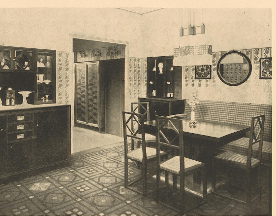 """Living room and dining room in Nusshauz,"" Fritz Zeymer, architect, Wien.  1909. Page t."