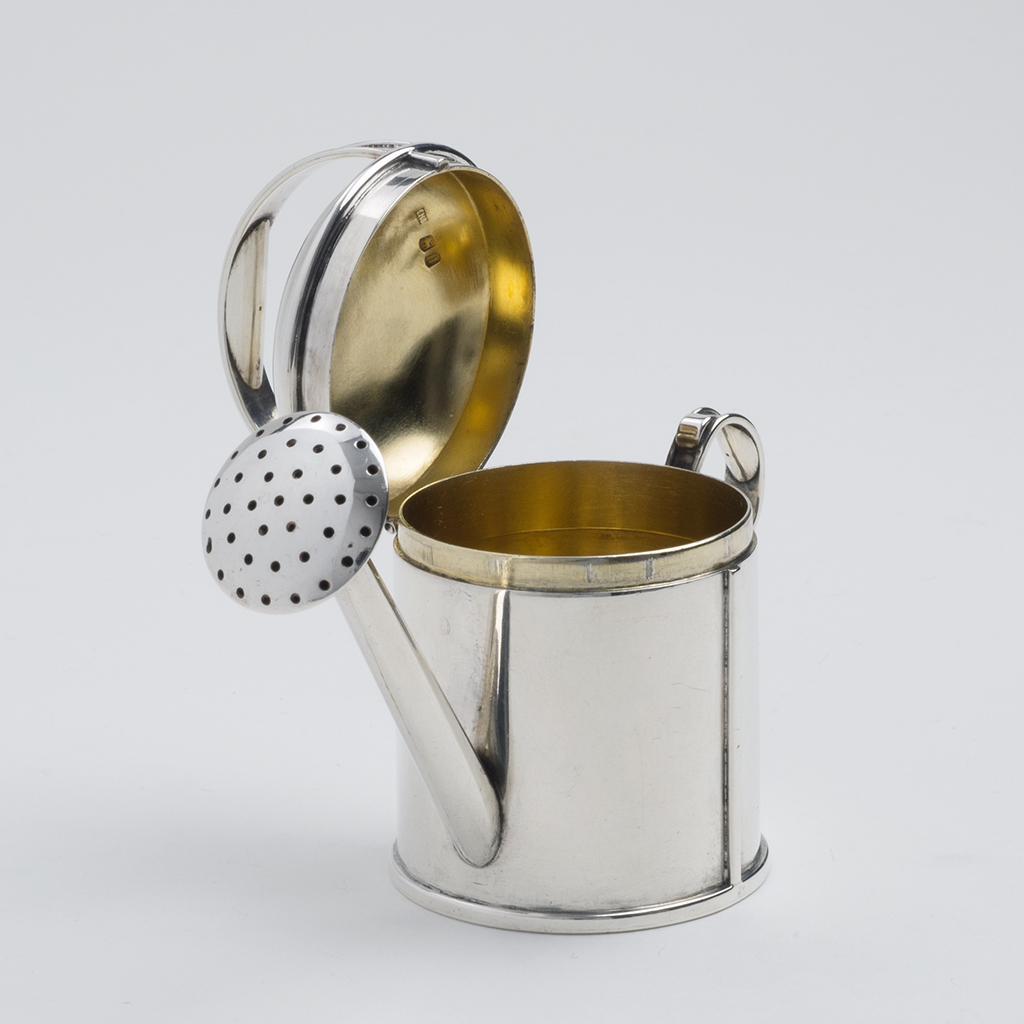 Watering can pepper pot. Made in London in 1868.