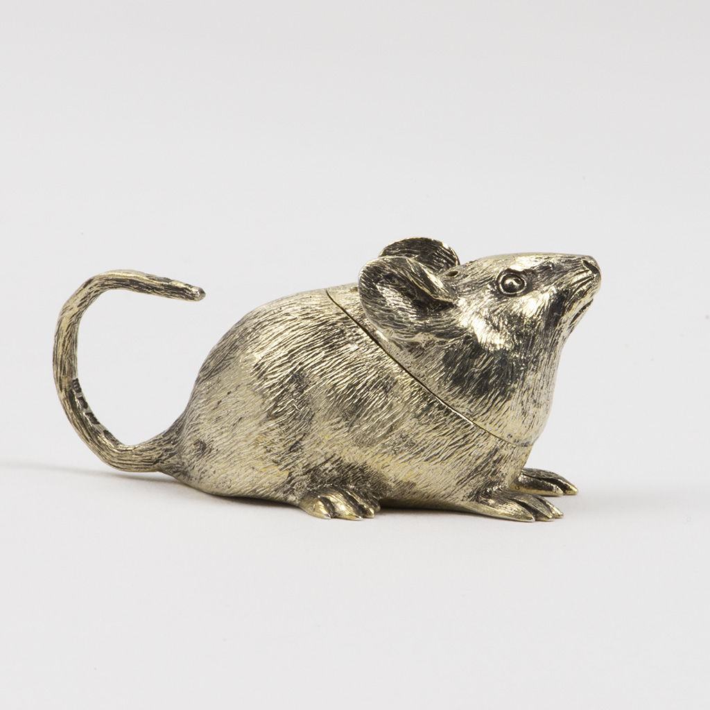Mouse or vole silver-gilt novelty pepperpot.