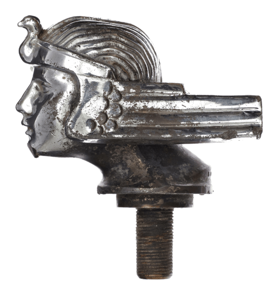 Egyptian Revival 1920's radiator cap from a Stutz Model AA Vertical Eight. Found during the excavation of Amsterdam's Amstel river for a new metro line. Image copyright City of amsterdam. belowthesurface.am