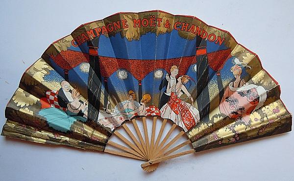 Moët & Chandon publicity fan. 1920's. Art Deco.