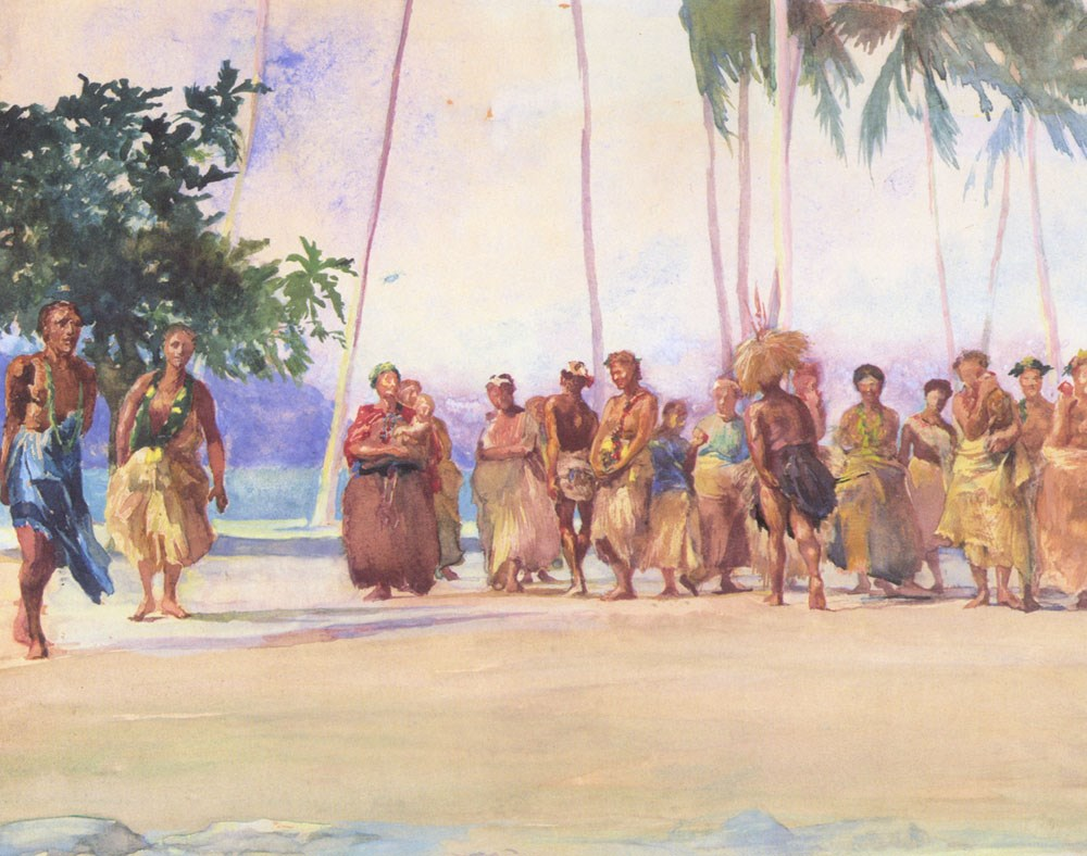 """Fagaloa Bay, Samoa ­ The Taupo, Faase, Marshalling the Woman Who Bring Presents of Food."""