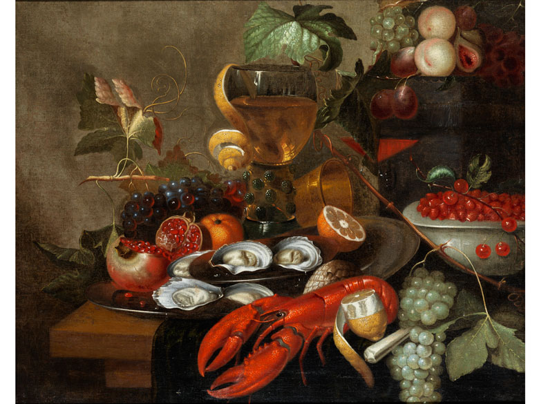 Stilleven met fruit, oesters en kreeft (Still life with fruit, oysters and lobster). No date.