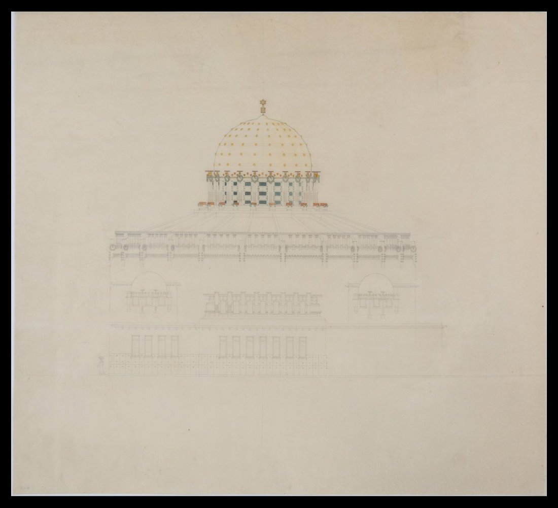 Design for a domed synagogue, Trieste. ca. 1903.