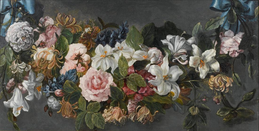 A swag of roses, honeysuckle, delphiniums, lilies, and other flowers held by blue ribbons. No date.