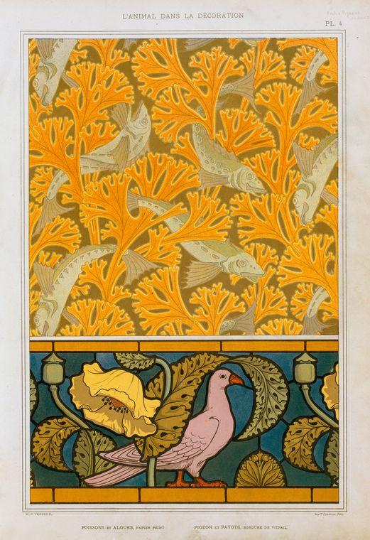 """""""Poisson et algues, papier peint; pigeon et pavots, bordure de vitrail."""" Plate 4."""