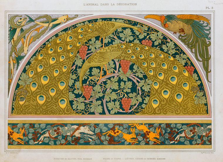 """""""Poissons et algues, coq, écoinçon; paons et vigne; lièvres, chiens et ronces, bordure."""" Plate 3."""