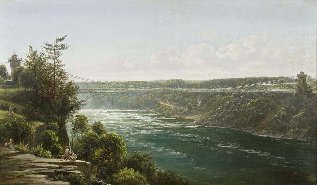 """Suspension Bridge over the Niagara River."" ca. 1855-1856."