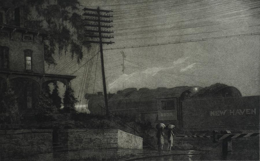 """""""The Passing Freight, Danbury."""" 1934."""