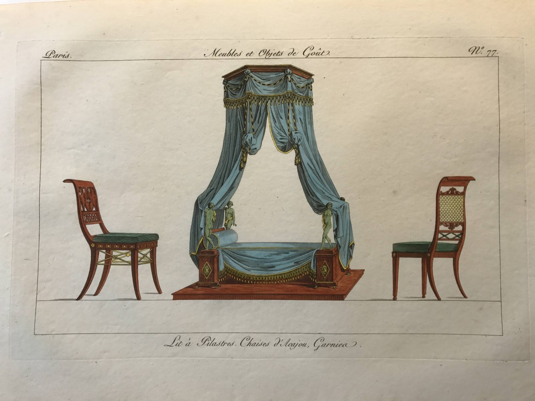 """""""Lit à pilastres, Chaises d'Acajou, Garnier,"""" from """"Meubles et Objets de goût."""" Number 77."""