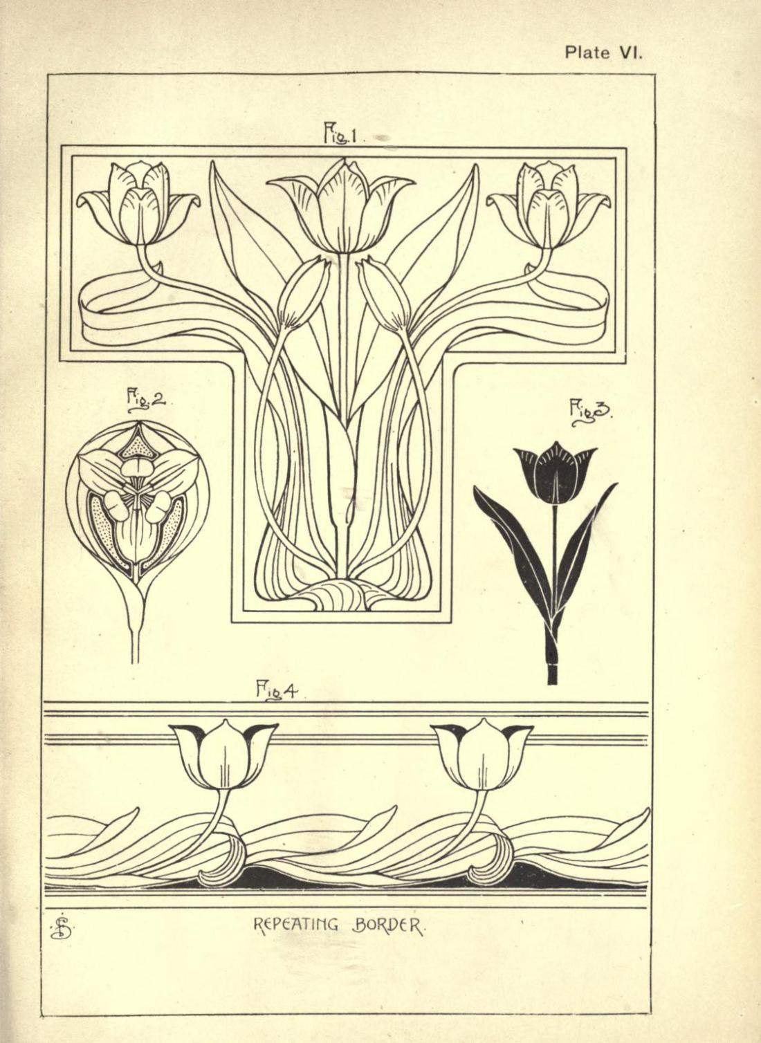 """Tulip."" Page 23. Plate VI. Figures 1-4 with a repeating border."
