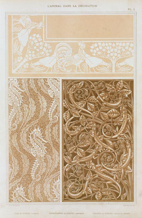 """""""Coqs et poules, damassé; hippocampes et algues, dentelle; lézards et ronces, grille en bronze."""" Plate 2,"""