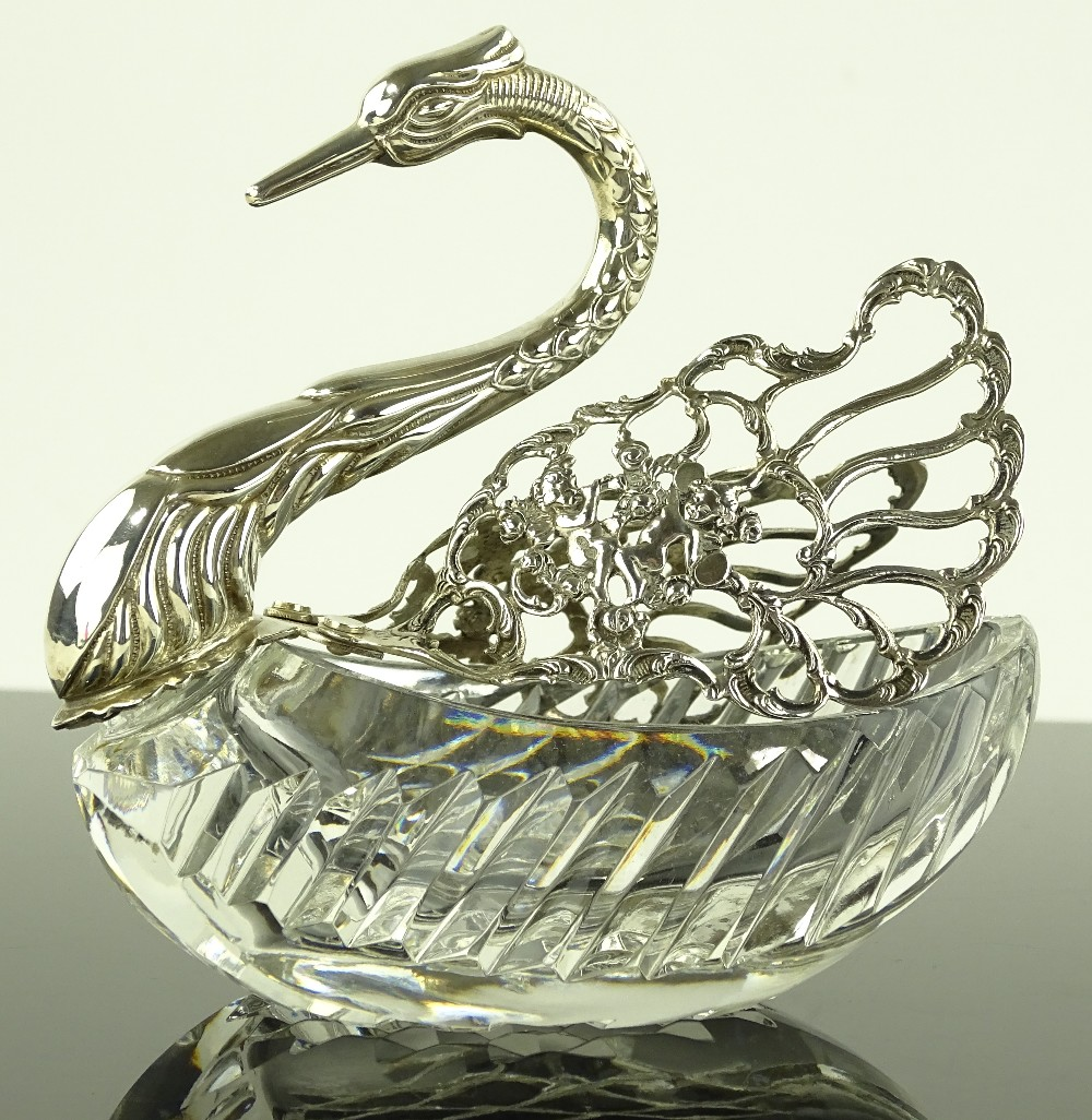 Cut-glass and silver swan toothpick holder.