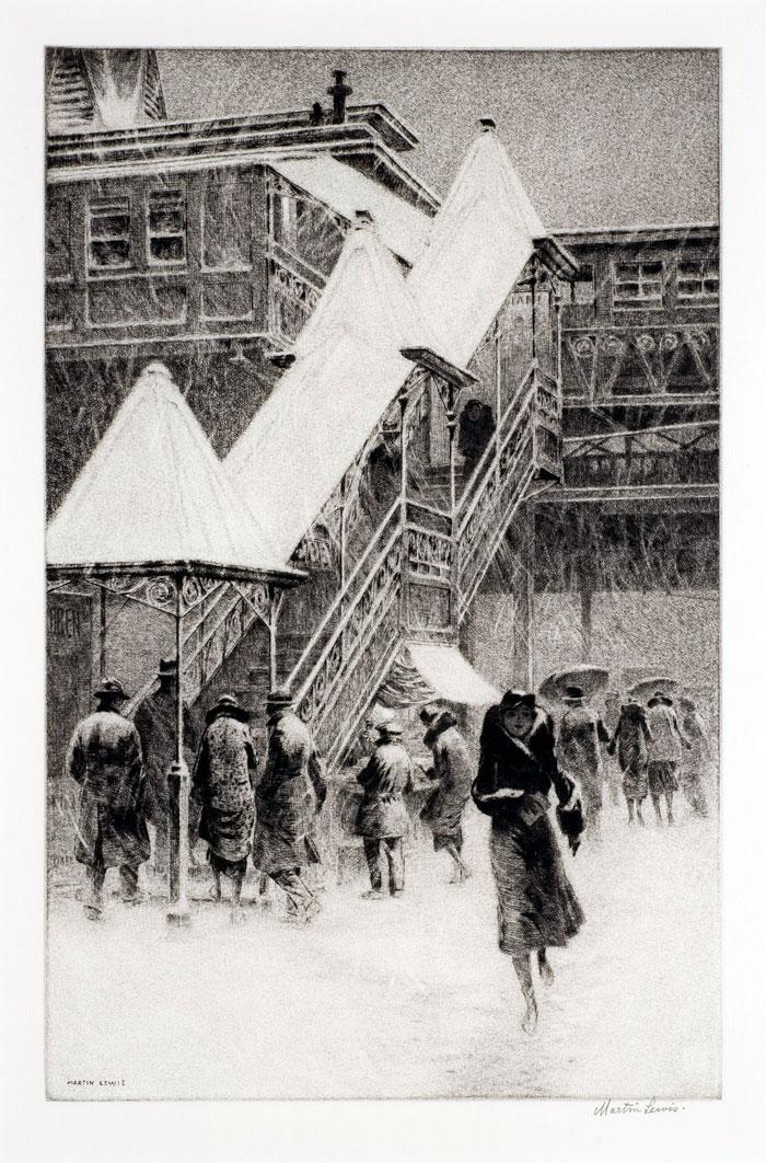 """""""Snow on the El."""" 1931."""