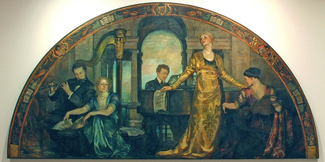 """Youth and the Arts."" Lunette, part of the ""Building the House of Wisdom"" set of murals commissioned by Charlton Yarnall for his mansion in Philadelphia, Pennsylvania. 1911."