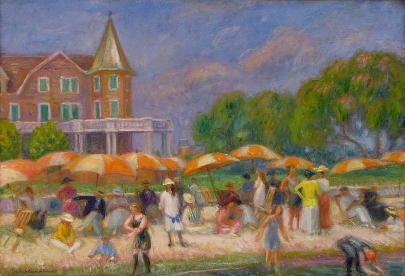 """""""Beach Umbrellas at Blue Point."""" ca 1915."""