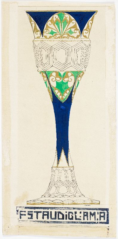 Design drawing for a hexagonal vase with a dark blue vase neck and green and gold decorations.