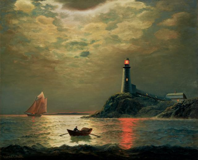 """Sailboat with Lighthouse at Night."" Late 19th c."
