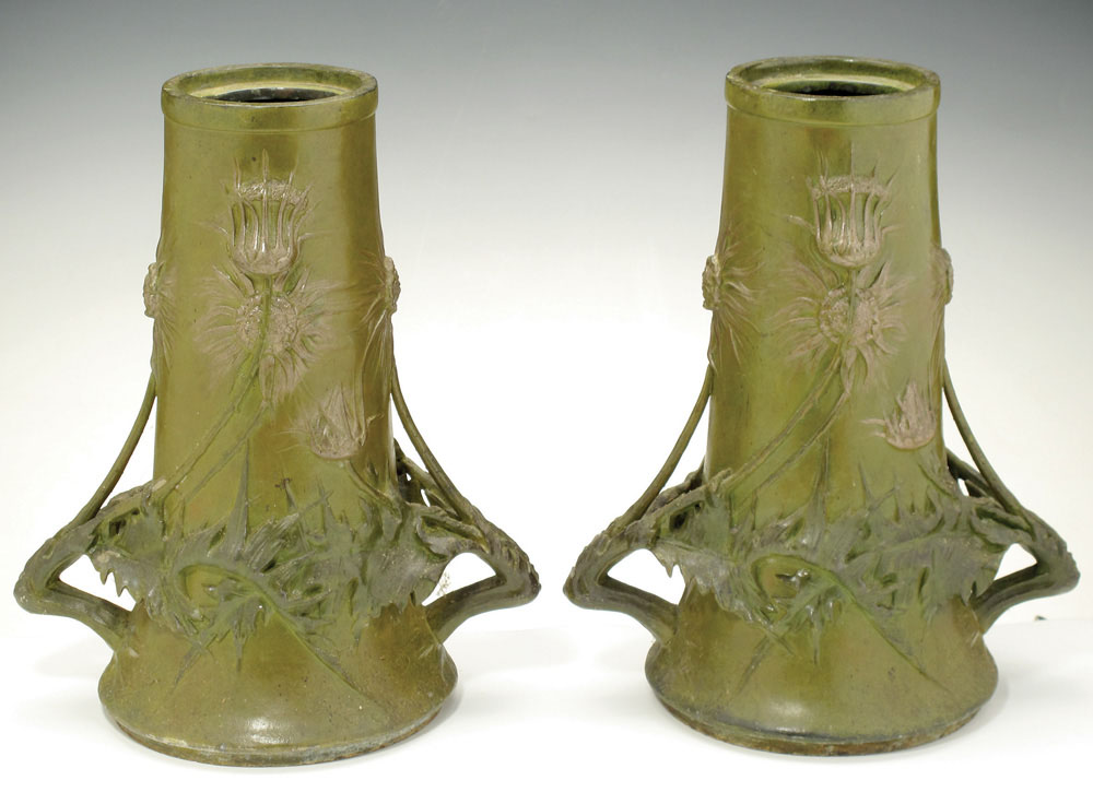 """Thistle"" vases. ca. 1889-1900. Tin."