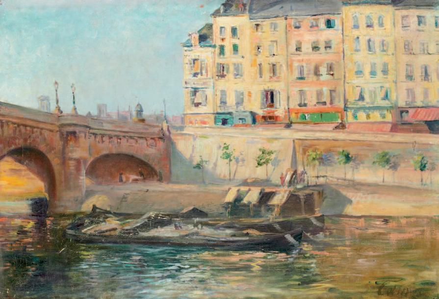 """""""Le Pont Neuf à Paris."""" No date."""