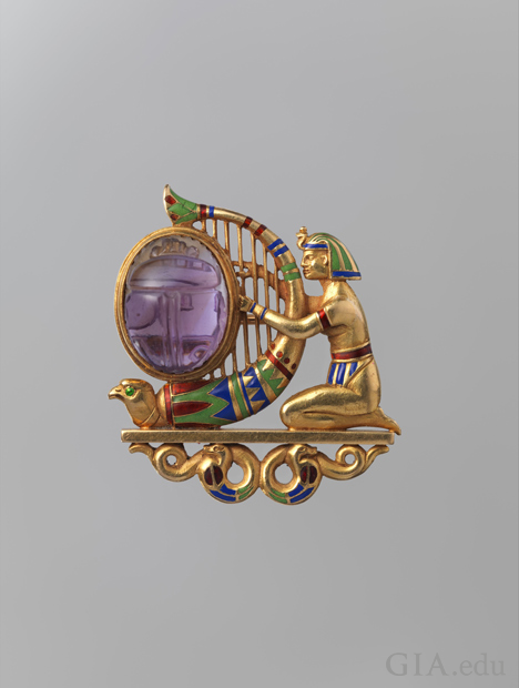 Brooch. ca. 1900. Egyptian Revival in style.