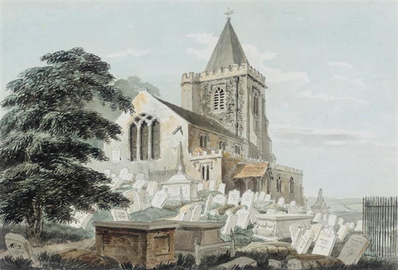 """A Church and Graveyard."" No date."