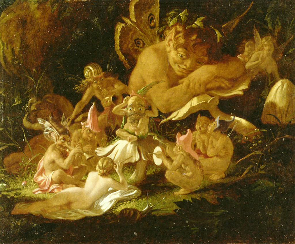 "Puck and Fairies, from ""A Midsummer Night's Dream."" Mid 19th c. Print."