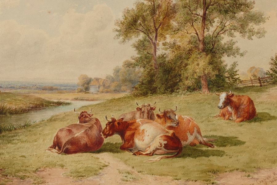 """Landscape with cattle."" 1887."