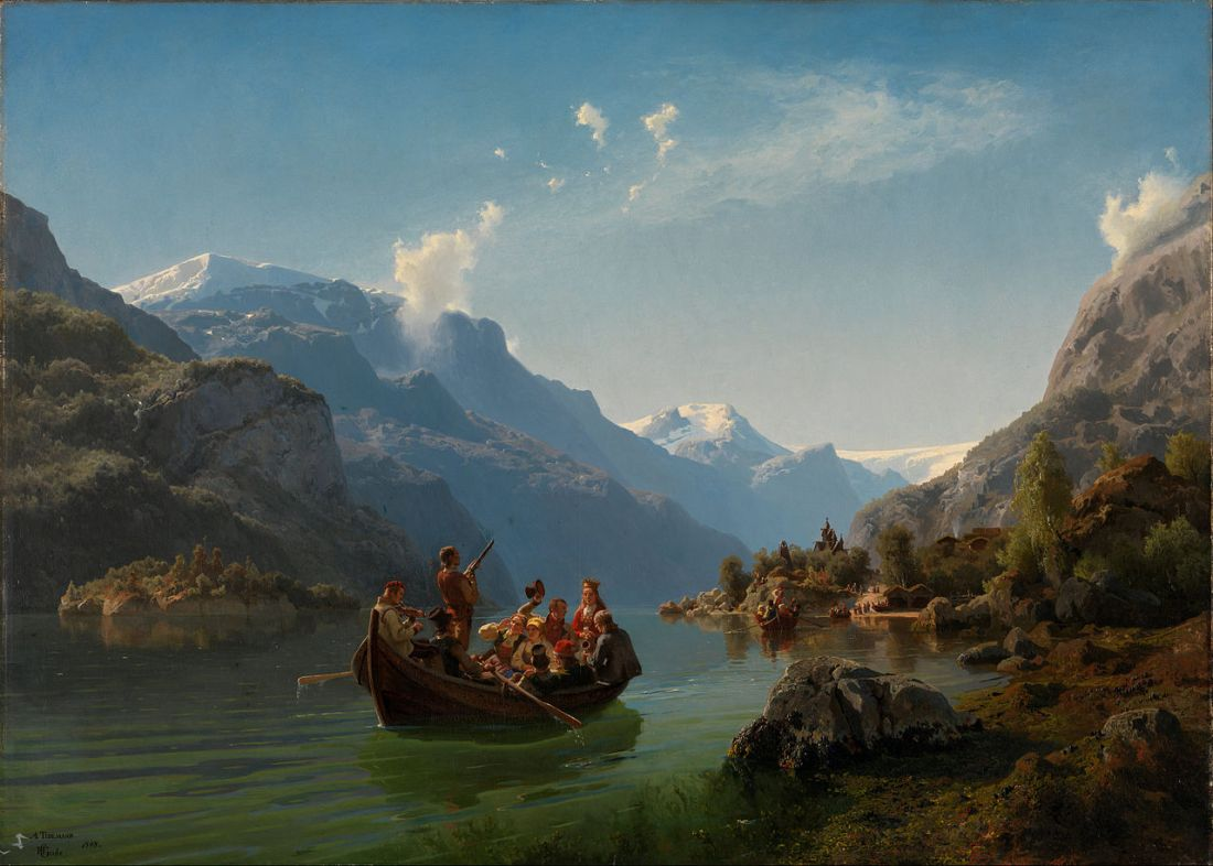 """Bridal Procession on the Hardangerfjord."" 1848."