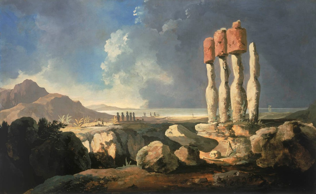 """A View of the Monuments of Easter Island [Rapanui]."" ca. 1776."