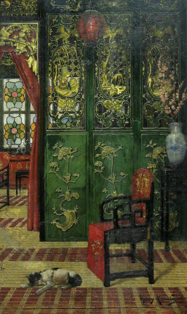 """Chinese Interior."" 19th c."