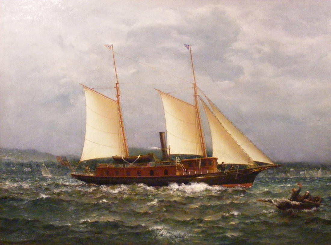 """The Steam Yacht 'Stella' of Commodore James Walter Thompson."" ca. 1880. Oil on canvas,"