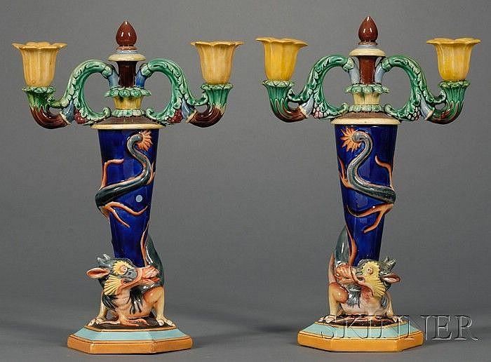 Pair of Wedgwood majolica candelabra. ca. 1875.