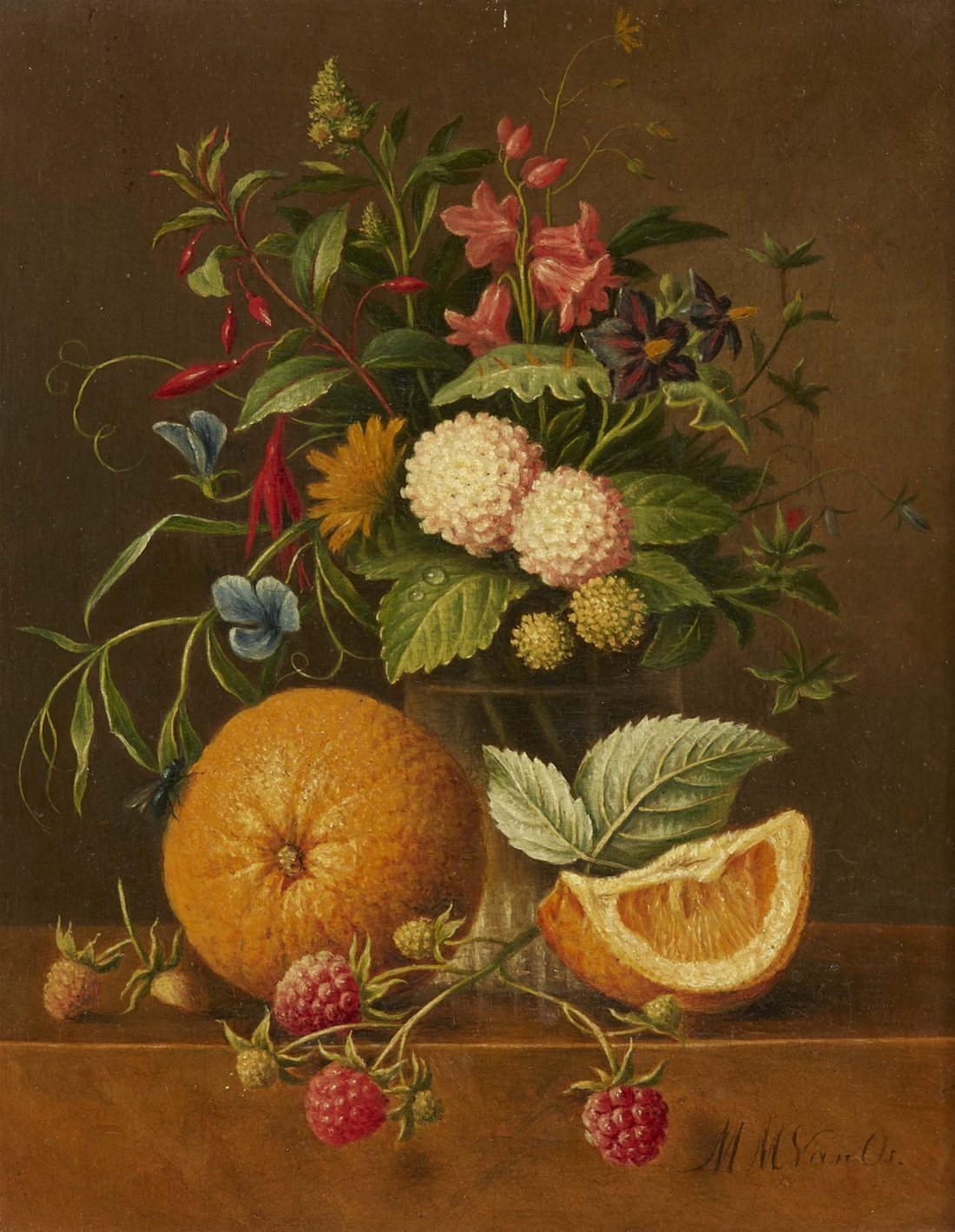 """Still Life with a Vase of Flowers, Clementines, and Raspberries."" No exact date."