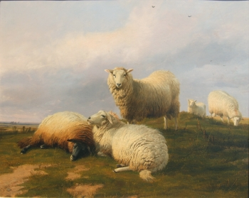 """Sheep Resting on a Hill."" 1868."