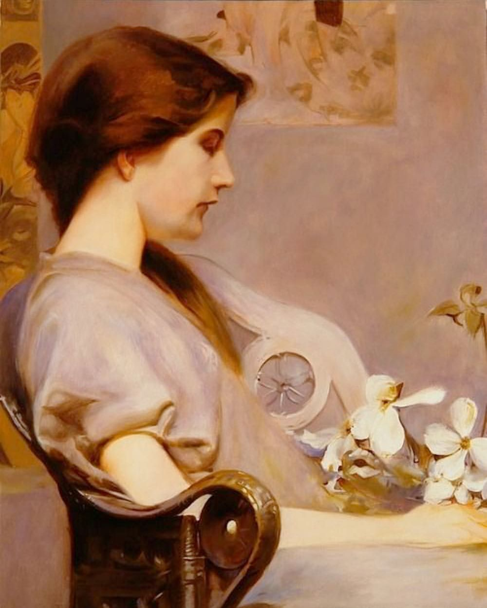 """Young Woman with Dogwood."" 1891."