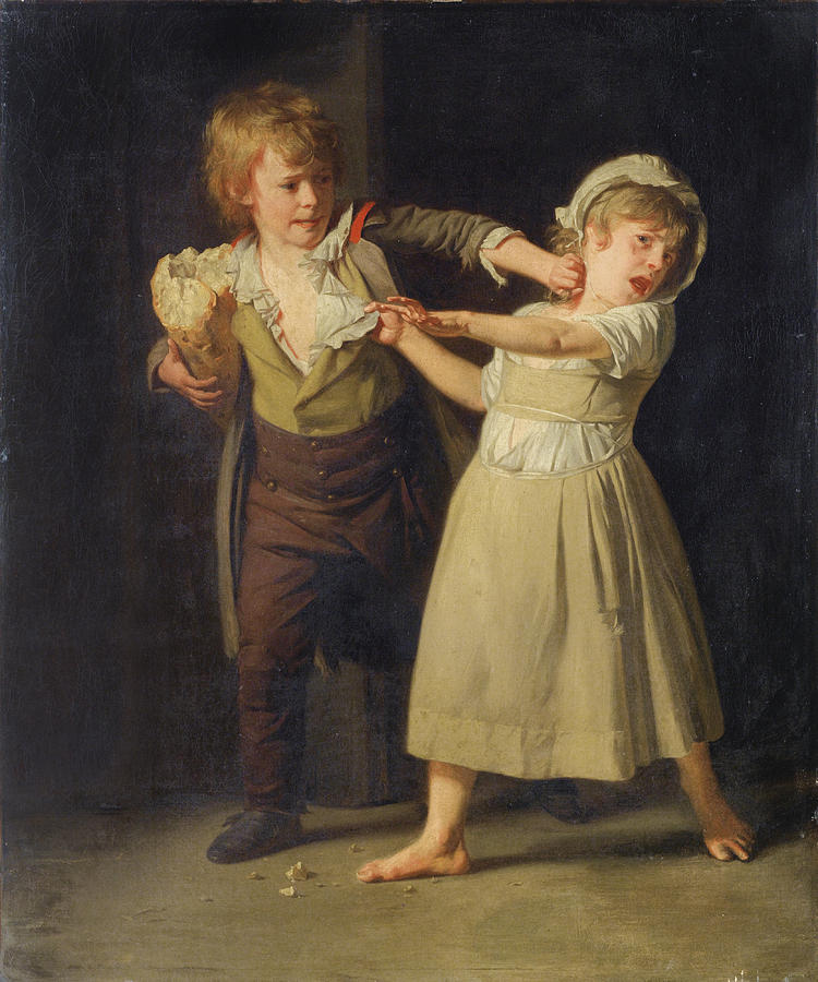 """Two Children Fighting over a Piece of Bread."" No date."