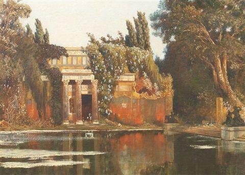 """Römische Villa in Gartenlandschaft."" 1900."