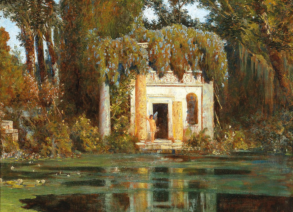 """""""Park Landscape with Pond and Sprite."""" 1901."""